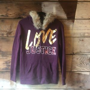 Justice Active Logo Fur Hoodie with Glitter Maroon